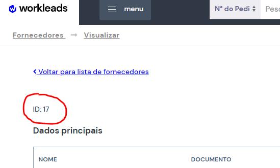 Imagem mostrando o numero ID do fornecedor na plataforma WorkLeads.